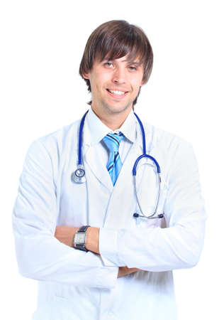 young male doctor portrait, isolated on white background  photo