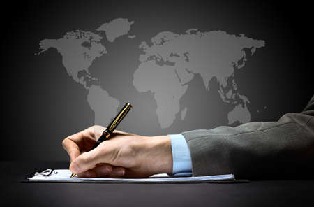 leadership training: businessmans hand with pen  Stock Photo