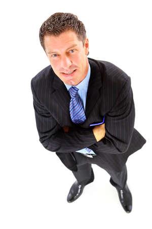 bovenaanzicht mens: Portret van een knappe oudere zakenman staande op een witte achtergrond