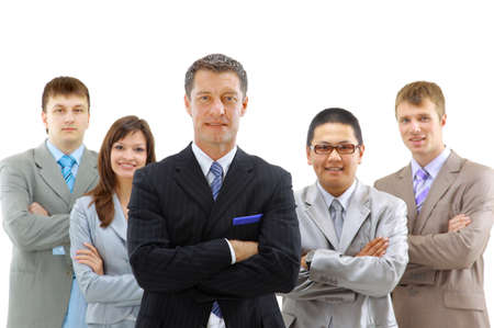 Group of business people. Isolated over white background photo