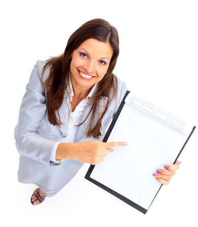 young businesswoman showing contract and where to sign  Stock Photo - 11315631