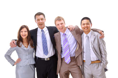 happy much ethnic business people worth together  Stock Photo - 11315691