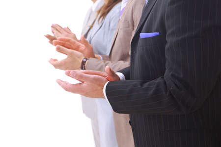 Happy business team applauding together  photo