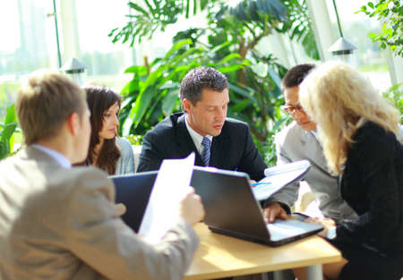 old office: Business team having a meeting  Stock Photo