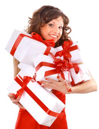 jonge vrouw met geschenken. Schot in de studio.