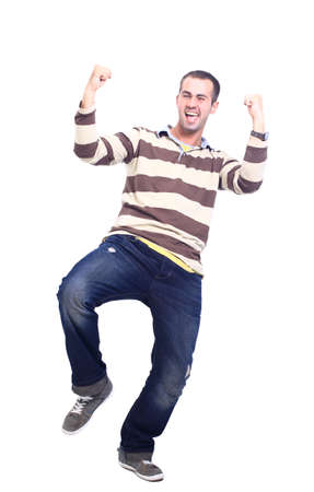 kneeling man: happy man celebrating his success isolated over a white background Stock Photo