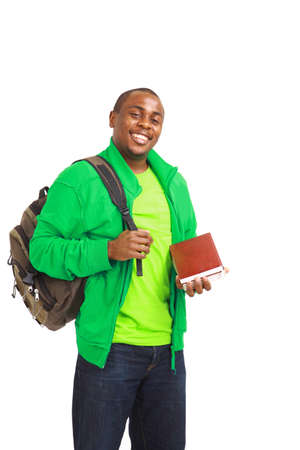 Happy Casual Dressed Young African American College Student Isolated on White Background photo