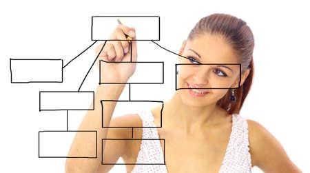 diagrama de flujo: Mujer de negocios el dise�o de un plan en la pantalla