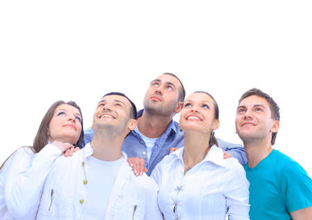 Closeup portrait of many men and women smiling and looking upwards against white background  photo