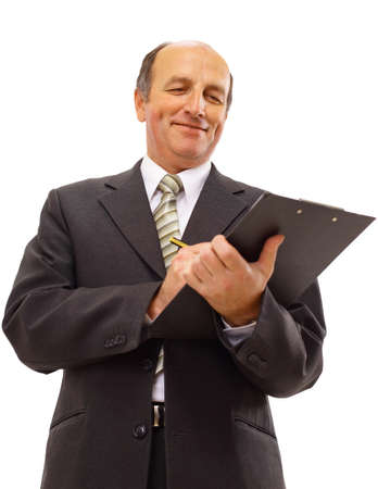 Businessman writing isolated over white background  photo