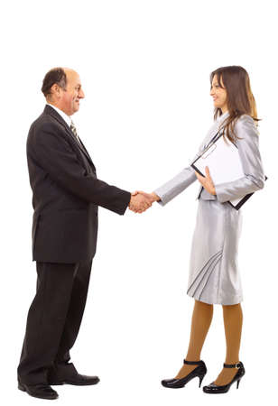 businessmen handshake: young man shaking hands with a woman against white background  Stock Photo