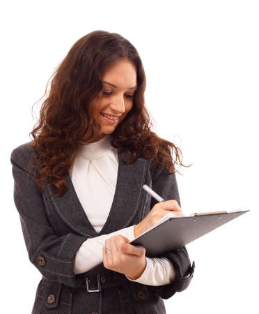 being the case: Young business woman with a map case  Stock Photo