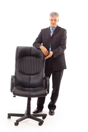 isolated businessman and chair photo