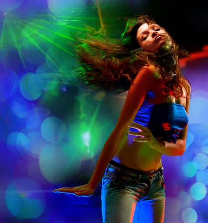sexy woman disco: Portrait of a beautiful dancing girl
