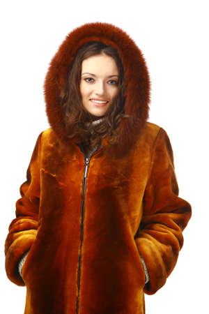 fur hood: Smiling Winter Woman  Stock Photo