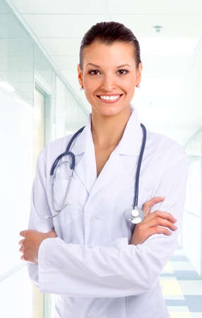 black nurse: Beautiful young doctor with stethoscope