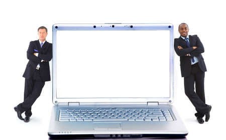 Modern laptop and two businessmans isolated on white background photo