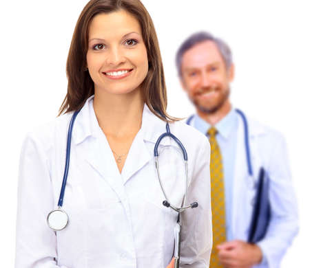 serious doctor: Beautiful young doctor with stethoscope
