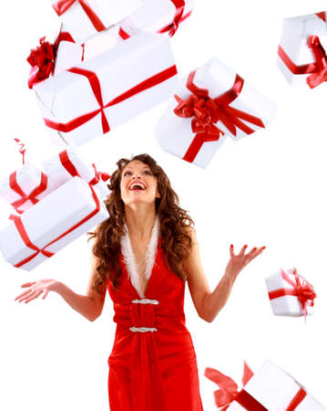 euphoria: Excited attractive woman with many gift boxes and bags.