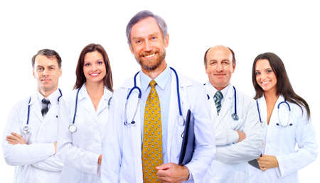 modern doctor: Portrait of group of smiling hospital colleagues standing together