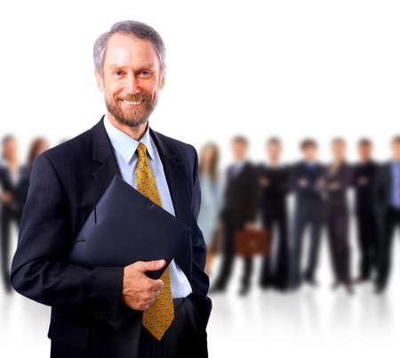 비즈니스맨: 흰색 배경 위에 절연 비즈니스 남자와 그의 팀