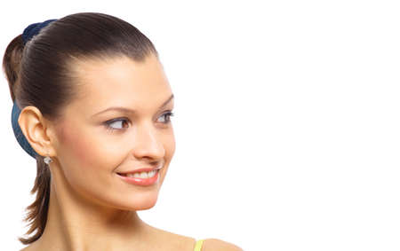 Young business woman looking upwards at space to copy  photo
