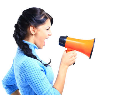 young woman speaking through megaphone  photo