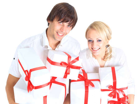 young couple and gift photo