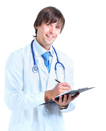 stethoscopes: young male doctor portrait, isolated on white background