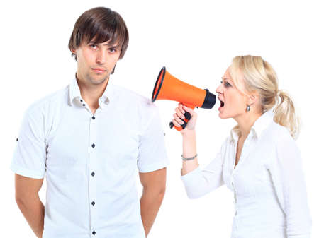 argument from love: Young woman gets earful from an annoyed man isolated on white background