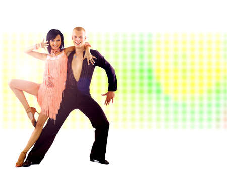 dancers in action isolated on bright background  photo