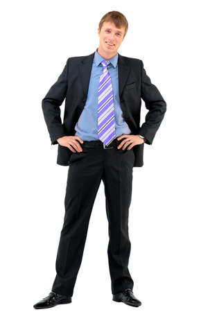 young add: Young businessman standing against isolated white background