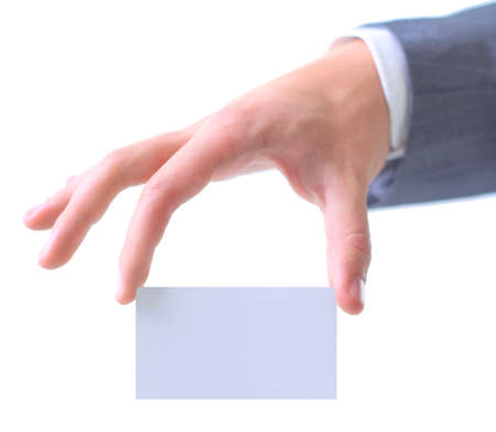 Businessmans hand holding blank paper business card photo