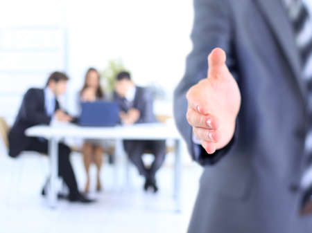 congratulating: Photo of handshake of business partners after signing promising contract  Stock Photo