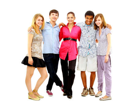 Happy teen young boys and girls standing together against white background Stock Photo - 11320376