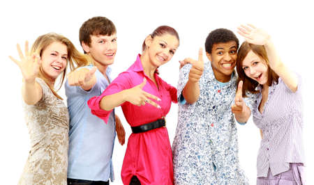 Cheerful group of young people. Isolated.  photo