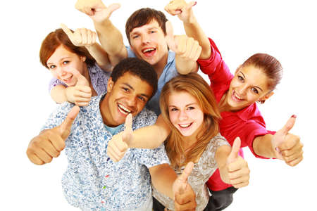 group of hands: Group of happy joyful friends standing with hands up isolated on white background
