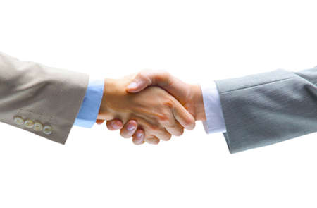 greets: handshake isolated on white background