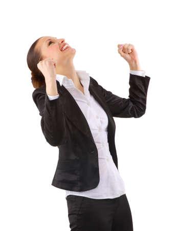 persona saltando: joven empresaria aislados sobre fondo blanco