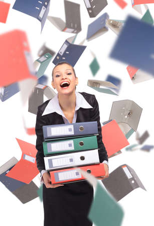 woman with folders Stock Photo - 11315473