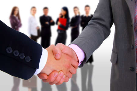 client meeting: handshake isolated on white background