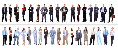 business woman standing: Crowd or group of business people isolated in white