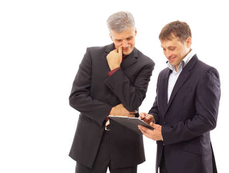 entrepeneur: Two businessmen discussing - Isolated studio picture in high resolution.  Stock Photo
