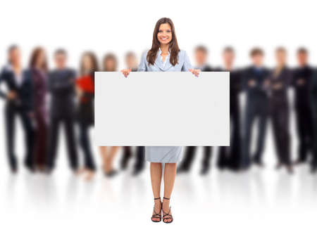 Portrait of happy men and women standing with a billboard against white background  photo