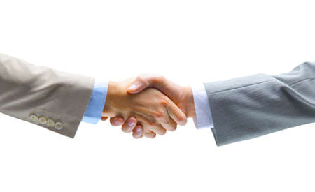saludo de manos: apret�n de manos aisladas sobre fondo blanco Foto de archivo