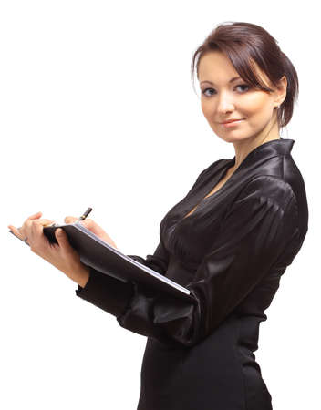 welling: Young business woman with a map case  Stock Photo