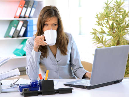 computer office: woman working on office