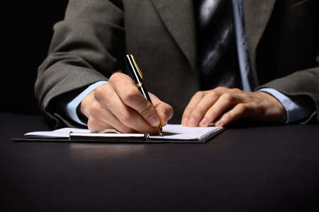 shorthand: businessmans hand with pen  Stock Photo
