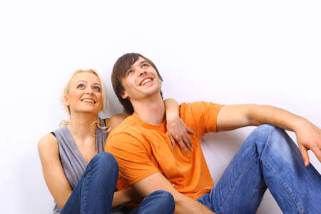 Young love smiling couple in the new flat Stock Photo - 11479833