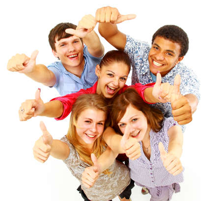 happy teenager: casual group of happy people isolated over white  Stock Photo